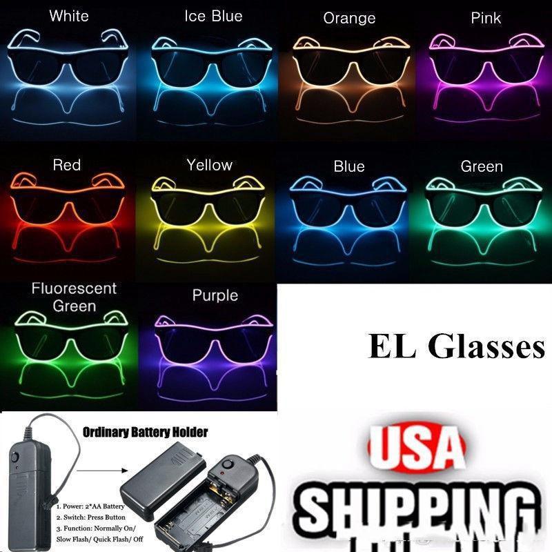Simples el óculos El fio Moda Neon LED Light Up do obturador em forma de brilho Sun Glasses Rave Costume Party DJ brilhantes dos óculos de sol
