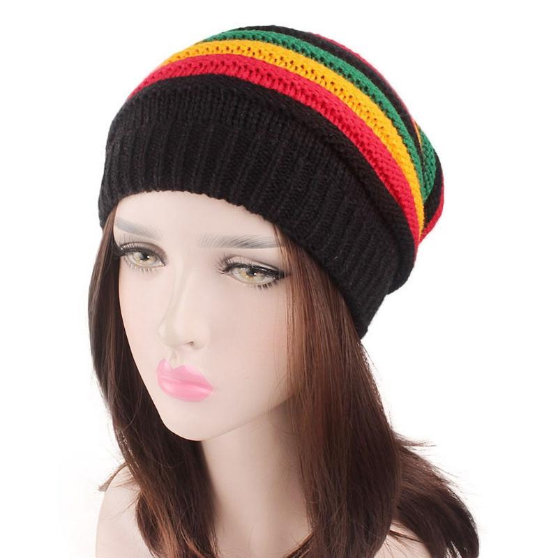 Donna Uomo Unisex arcobaleno cappello a righe colorate calda lavorata a maglia Beanie Cappellino invernale Nuovo