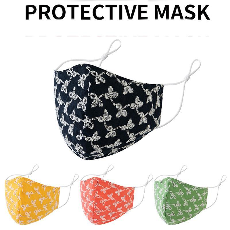 DHL frete grátis 2020 designer de máscara facial Adultos Dust-proof máscaras Fruit cor decoração impressa algodão ouvido ajustável máscara boca protetor solar