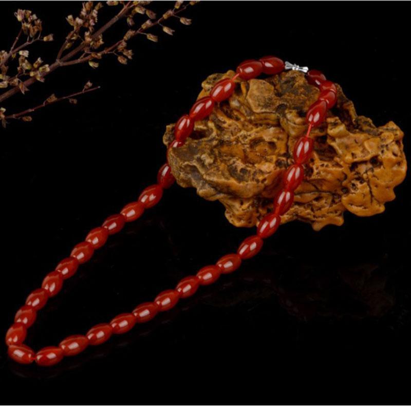 Nuovi gioielli popolari naturale agata rossa collana di perle da donna 8 * 12MM Gioielli Collana di perle