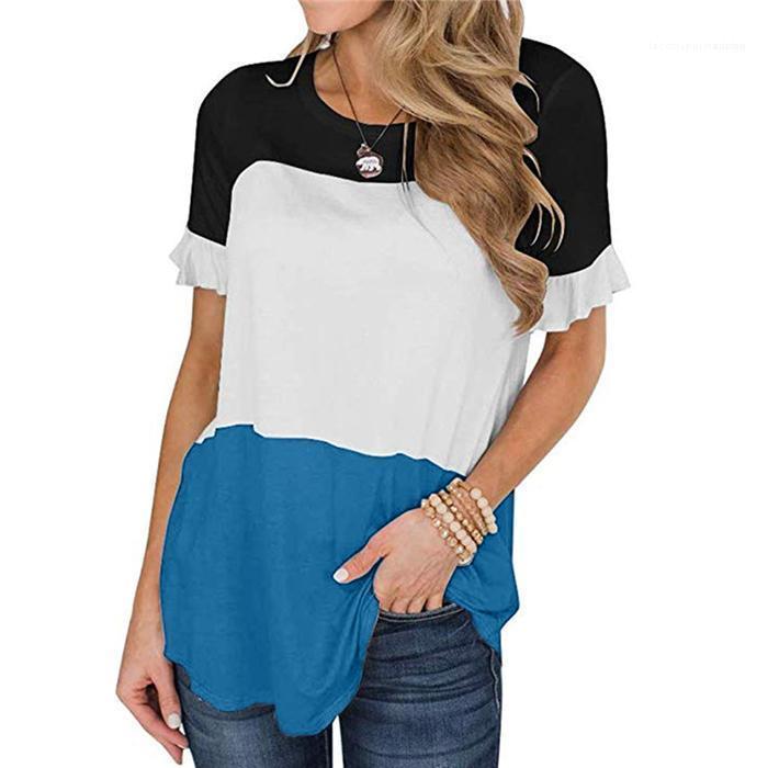 Patchwork di colore di modo delle donne magliette casual girocollo manica Flutter top a manica corta confortevole Bteathable signore