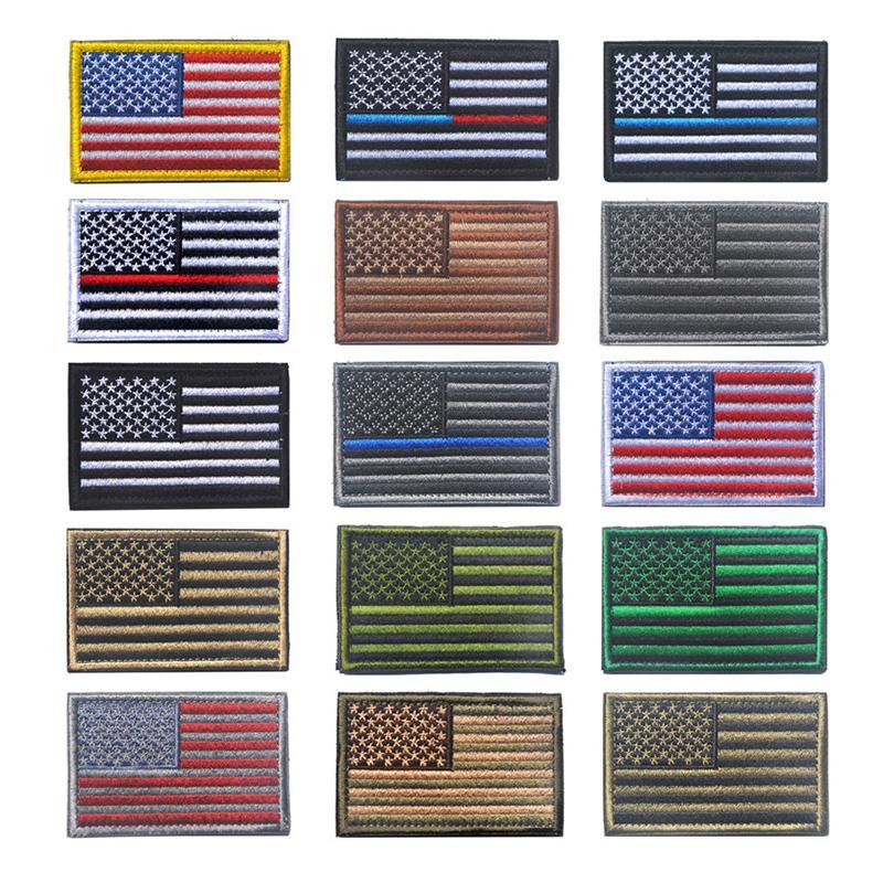 ABD Bayrağı Nakış Velcro Bölüm 8 * 5 cm Moda Kişilik Nakış Kol bandı Giyim Çanta Şapka Dekorasyon Nakış Sticker