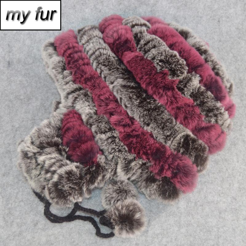 Elastic bom Malha Rex pele Gorros Chapéus Mulheres Winter Real Rex Fur Hat Lady 100% Cap Natural real