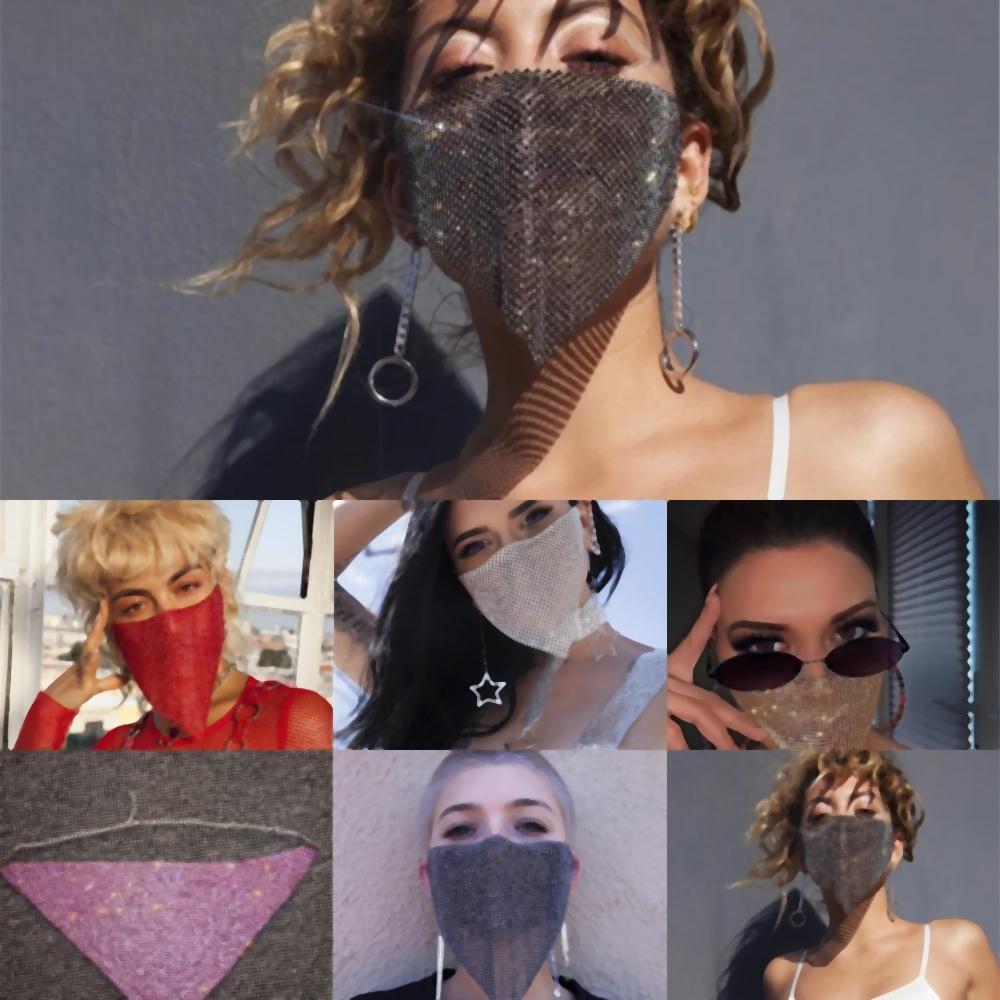 it5uP Алмазный Rhinestone Bling Bling Маски Haze маска Дизайнер моющийся многоразовый Блеск Шинни Face Mask Jewel пыле Halloween Gem крышки