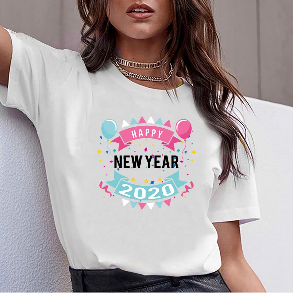 Tops T Shirt Donne felice anno nuovo 2020 Umorismo cotone bianco femminile maglietta