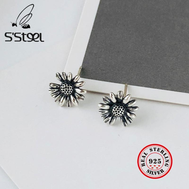 S'STEEL Brincos para Mulheres Sterling 925 Daisies pequeno Stud brincos coreano Brinco Vintage Earing Pendientes Mujer Jóias