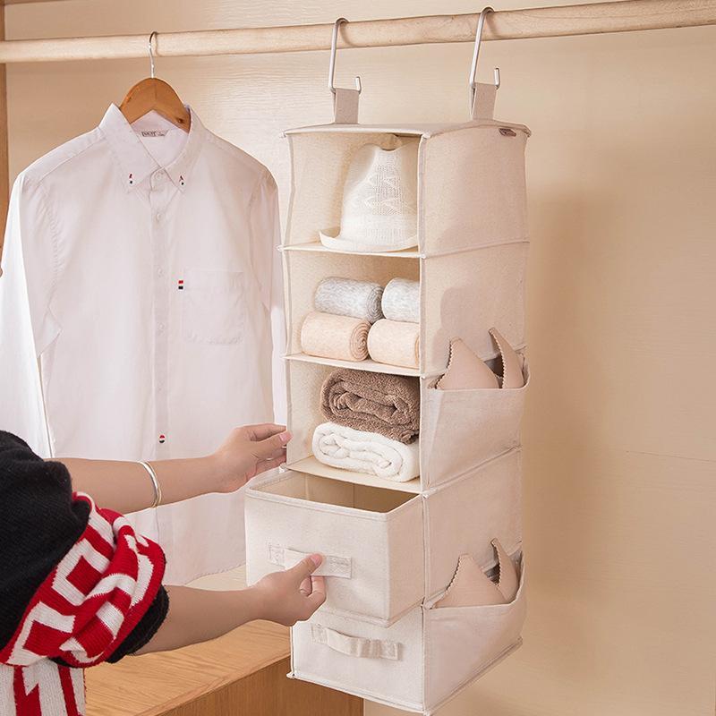 Hanging Storage Bag Cotton and Linen Storage Hanging Bag Closet Layered Underwear Clothes and Towel Closet