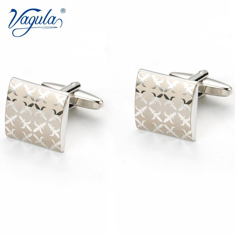 Vagula Gemelos Classic Silver-color Laser Copper Herren Manschettenknopf Luxus Geschenk-Partei-Hochzeit Anzug Hemd Taste Manschettenknöpfe 197