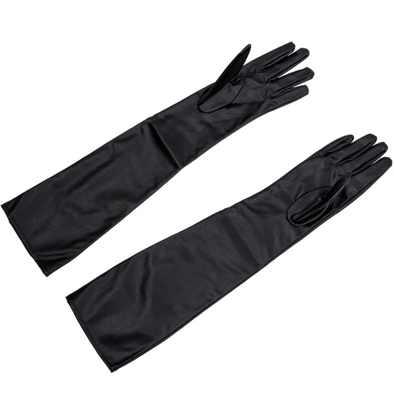 Gants en cuir souple à long artificiel des femmes / Dames - Noir