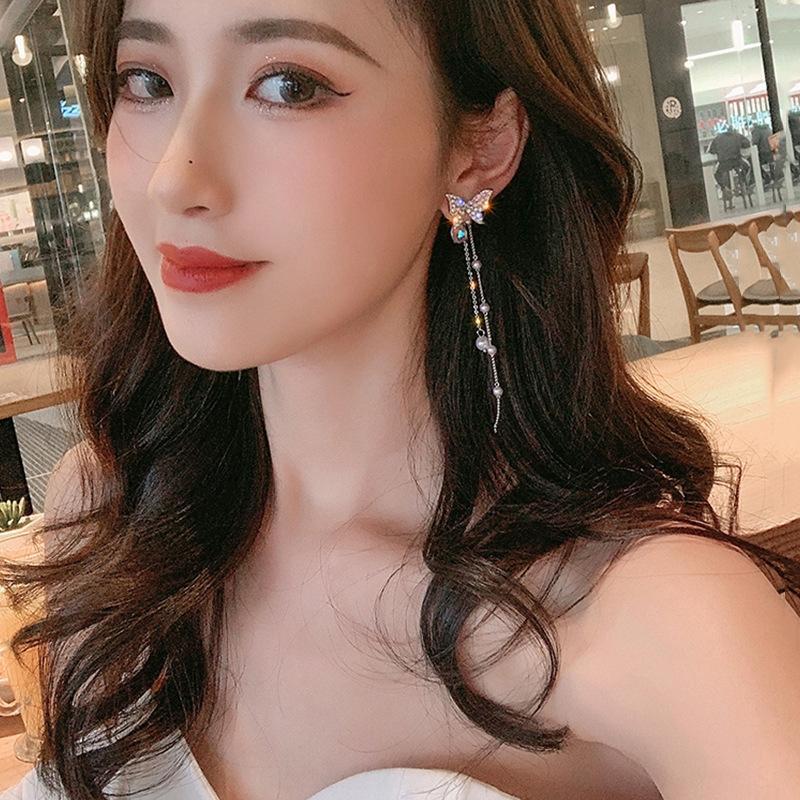 gGoF9 S925 farfalla perla orecchini moda ago d'argento fata vetro stile dolce farfalla diamante lunga collana di perle nappa Orecchini femminili