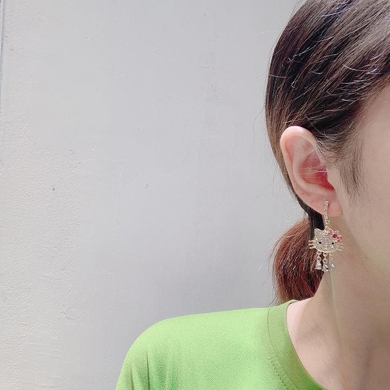 WumTs New japonês e coreano ins do coração da menina bonito gatinho diamantes borla simples agulha de prata doce para brincos de diamantes e brincos de estudante