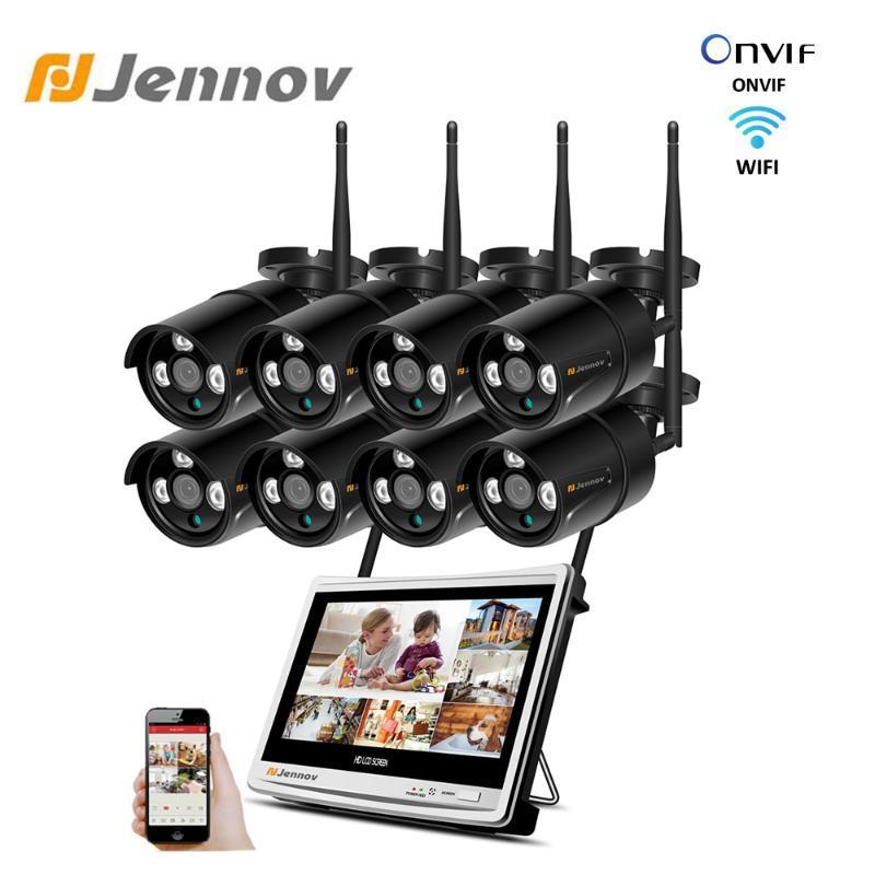 "Jennov 8CH 1080P Camera Surveillance Wireless System 12"" LCD Screen NVR 3TB Wifi 2MP CCTV Video Camera Weatherproof Outdoor Set"
