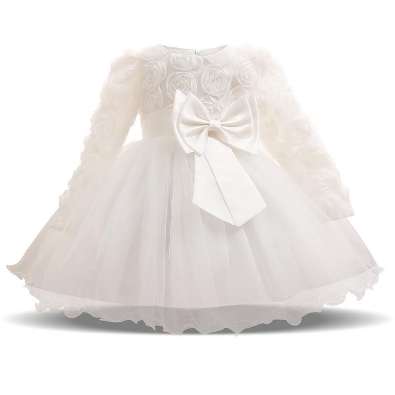 Long Sleeve White Dresses for Girl Baby Girl Clothing 1 Year Birthday Party Toddler Christening Gown Infant Girl Dress