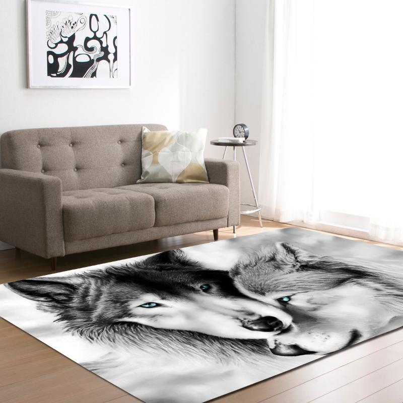 Carpets Home Decor 3D Wolf Printed Rugs For Living Room Bedding Hallway Large Rectangle Area Yoga Mats Modern Outdoor Floor