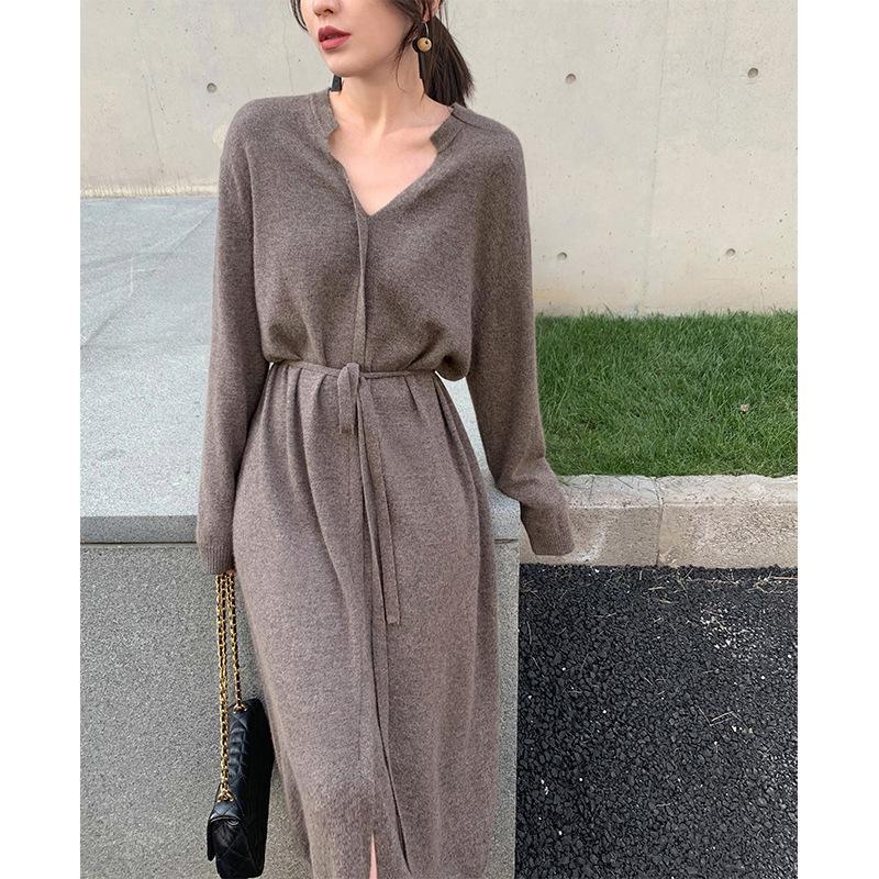 New 2020 Frühherbst Frauen Pullover Kleid Mädchen lange Oberbekleidung Knie Tunnelzug Strickkleidern grundiert