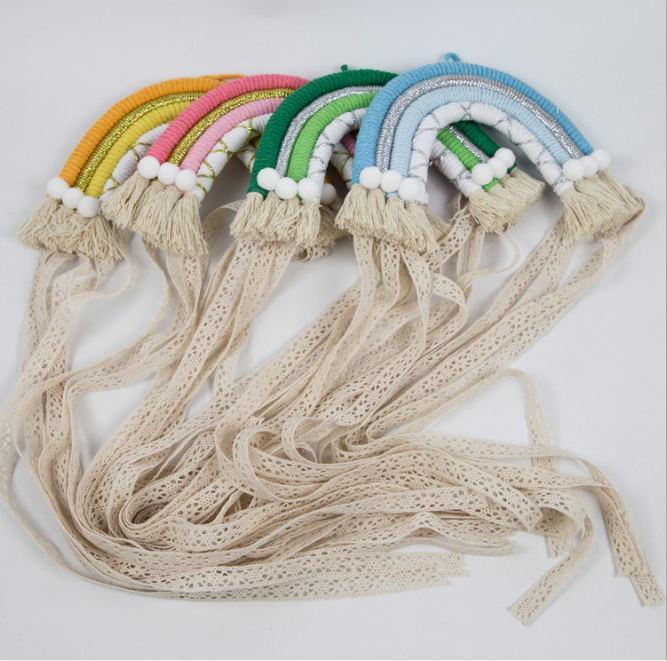 Handgemachte Regenbogen-Haarbogen-Halter-Speicher-Gurt für Mädchen-Haar-Clips Barrette Hanging Organizer-Streifen Halter 1pcs