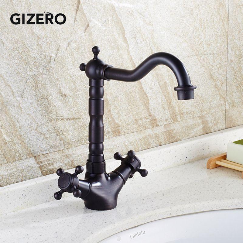 Vente en gros et au détail bassin noir antique robinet pont monté à chaud et à froid Mélangeur double poignée pivotante Mélangeur lavabo Spout noir ZR291