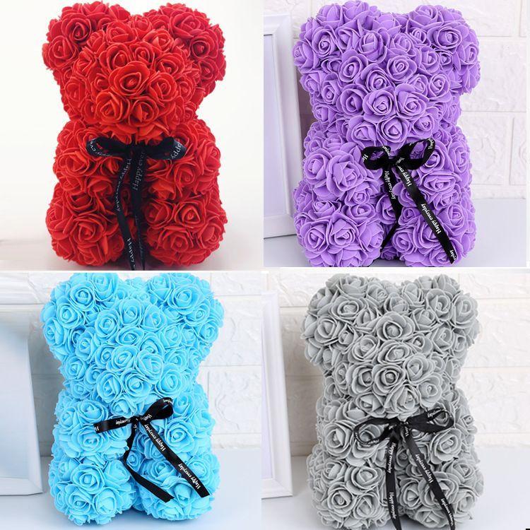 새로운 발렌타인 데이 선물 25cm 레드 로즈 테디 베어 장미 꽃 인공 장식 크리스마스 선물 여성 사랑 곰 인형 선물