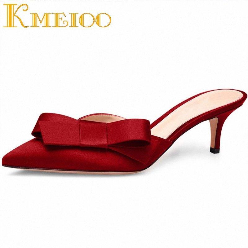 Slip Kmeioo dulce mula para las mujeres Pajarita mulas en los talones gatito deslizadores de los zapatos de raso vestido de punta estrecha causales 6,5 CM 5hC8 #