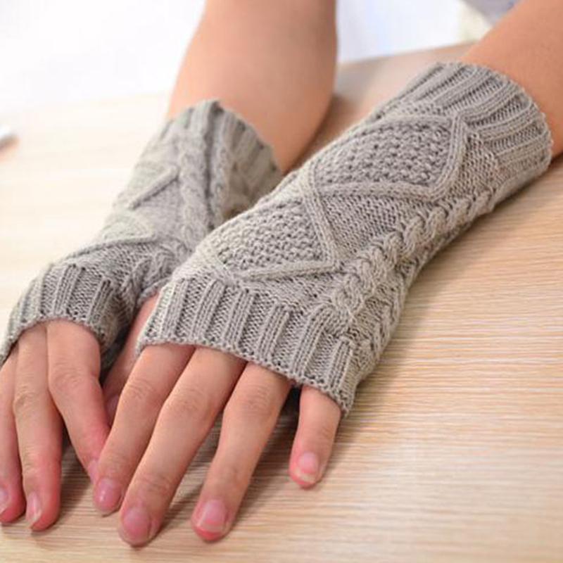 WinterAutumn Navidad Cashmere Blend de las mujeres de punto Craft largos guantes calientes de moda para señora muñeca fría protector
