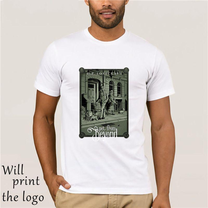 Lovecraft Más allá de la camiseta de perro tapas de los hombres de la vendimia de Cthulhu T SHIRT 100% ropa elegante del verano del algodón camiseta camisetas Negro