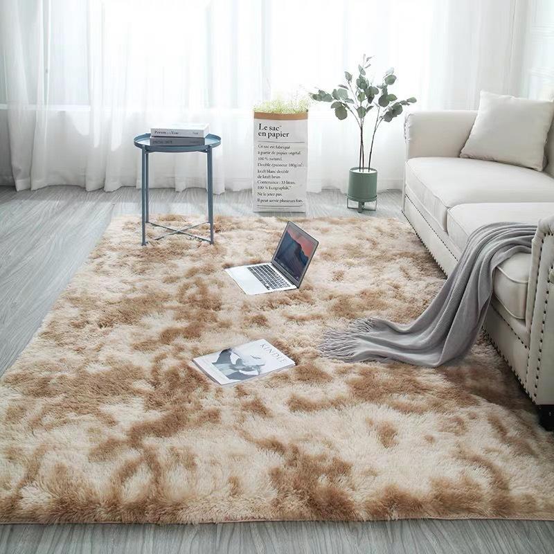 Microfine chiazzato Tie-dye Gradient tappeto del salotto Tavolino Mat netto capelli rossi lunghi Tappeto lavabile letto moderna Nordic Ins