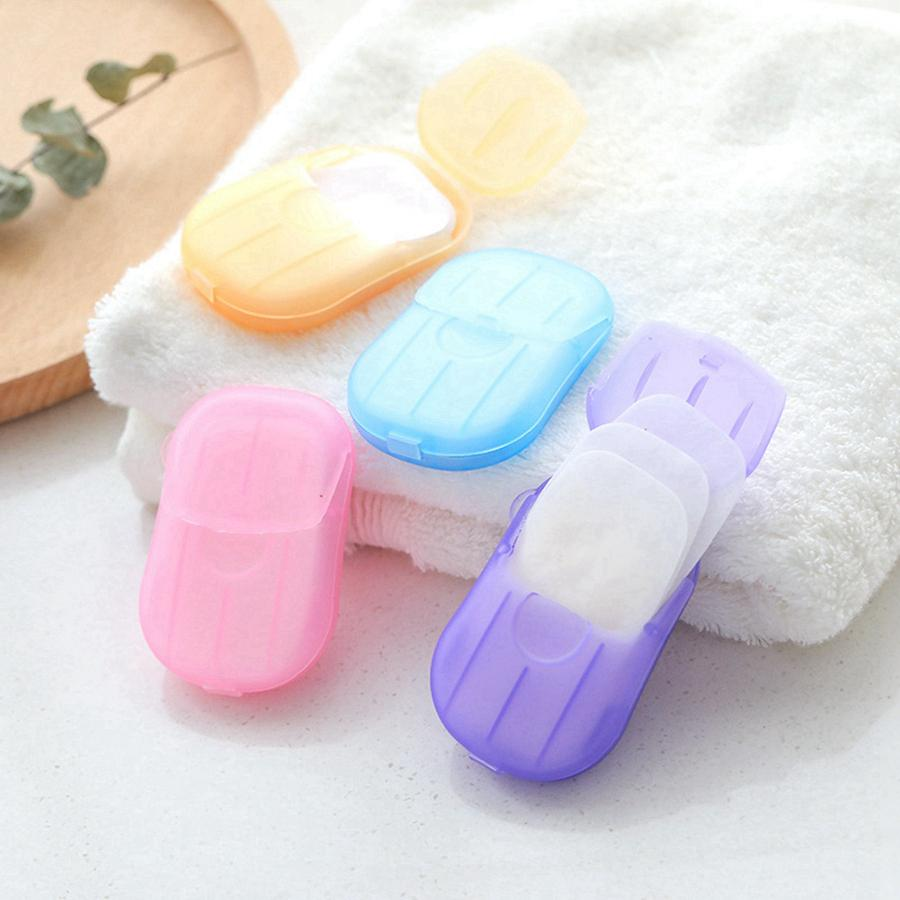 Tek kullanımlık Karşıtı toz Mini Seyahat Sabun Kağıt Yıkama El Banyo Temizleme Portatif Kutulu Köpük Sabun Kağıt Kokulu Sheets 20PCS / kutu RRA3543