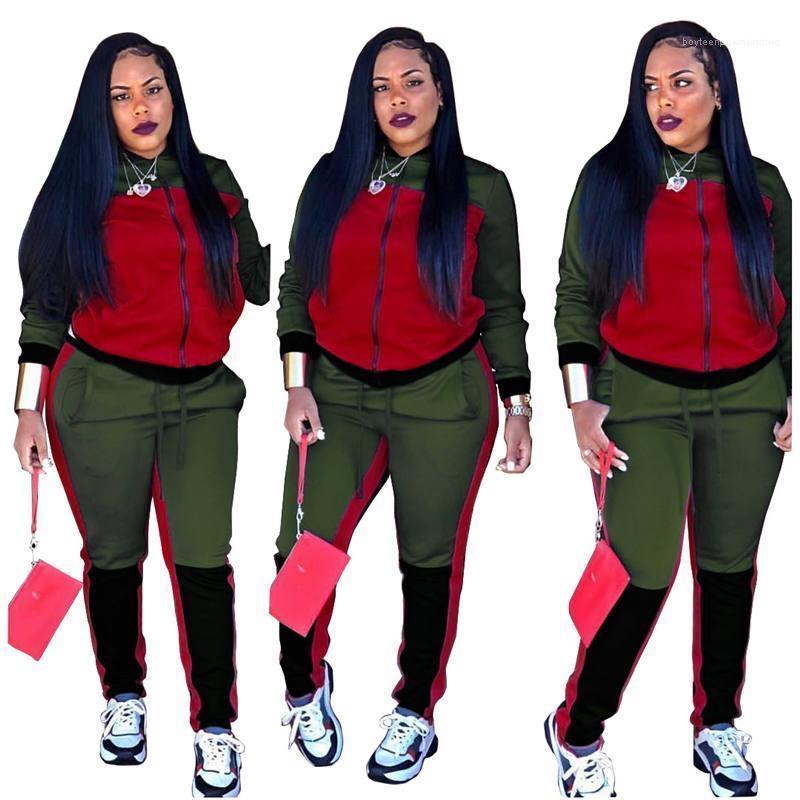Tute Designer di contrasto di colore Moda Donna Sport Womens Imposta manicotto lungo femmine Outdoor Apparel Paneled Donne