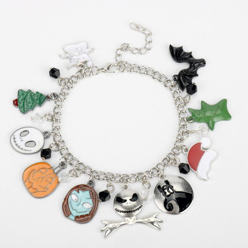 The Nightmare Before Christmas Charm Bracelet Jack Skeleton Sally Anime Punk Jewelry Halloween Gift For Women Men