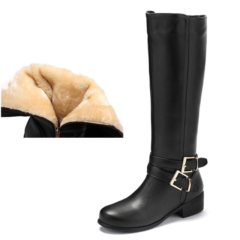El tacón alto botas de invierno de las mujeres de gran tamaño hebilla de la manera impermeable de felpa caliente botas de nieve Negro Marrón motocicleta