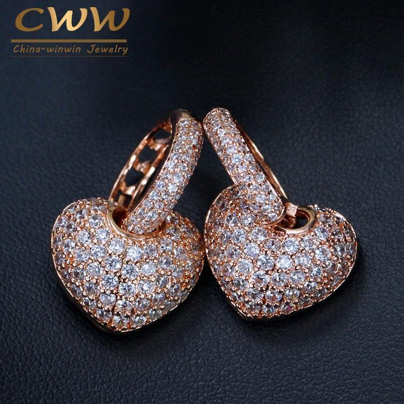 Kadınlar CZ038 BqlH için # CWWZircons Mikro açacağı Taşlı Yüksek Kalite Sevgi Sevimli Pembe Altın Renk Küçük cz Hoop Kalp Küpe