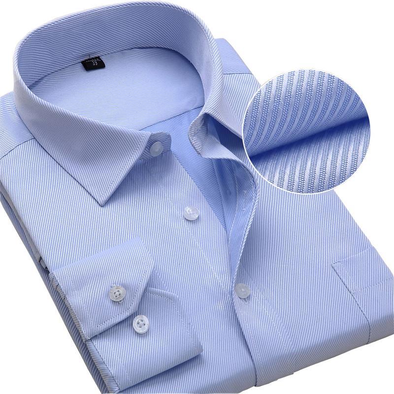 Plus Size Dress Shirts à manches longues hommes Slim Fit solide rayé affaires formel shirt blanc Homme Homme Social Big Taille Vêtements T200914
