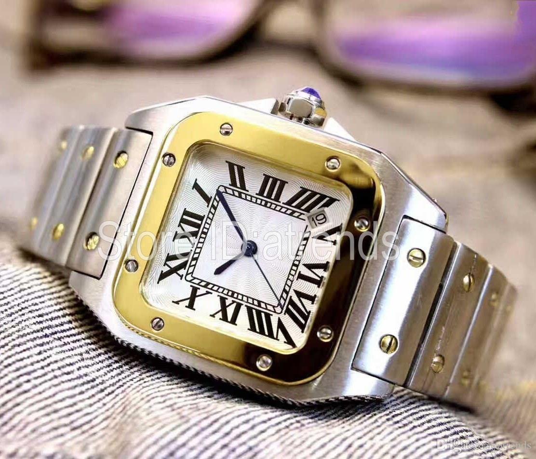 Cgjxs Sıcak Satış En Moda Kuvars İzle Kadınlar Altın Gümüş Klasik Tasarım Tam Paslanmaz Çelik saatler Bayan Casual Şık Saat 17 Dial
