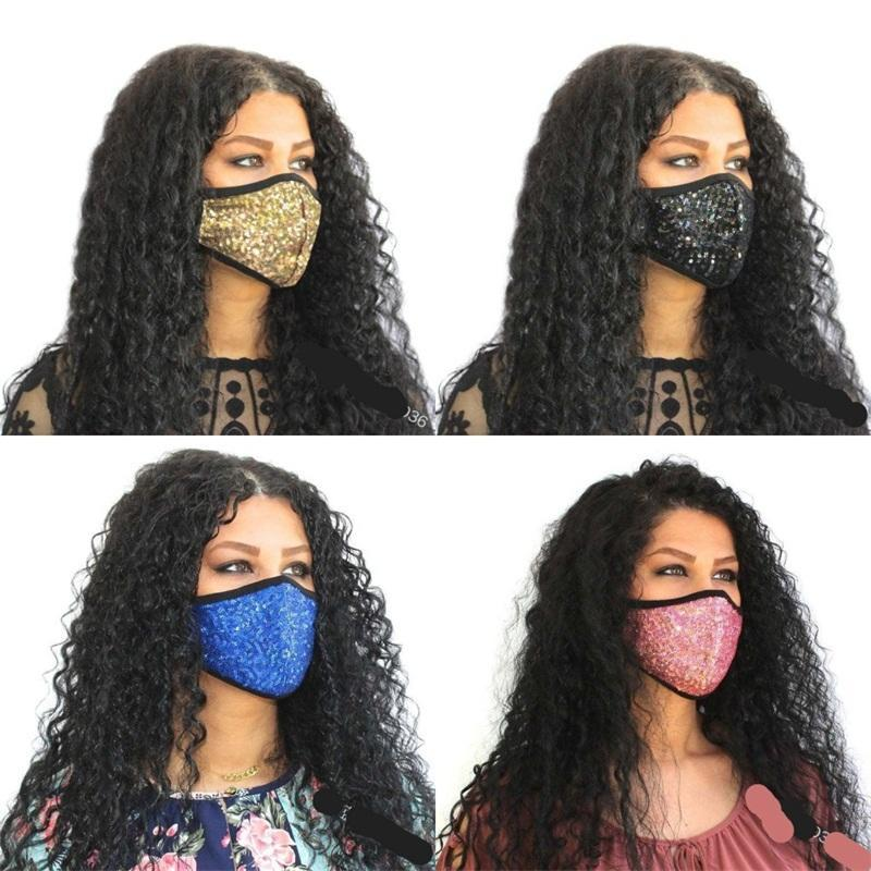 Máscaras lentejuelas Boca Cara Personalizar Flash Mascarilla Earloop respirable plegable Mascherine Moda reutilizable del polvo anti Niño Adultos 6XB C2