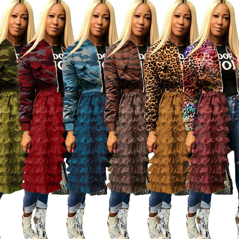 Новые женщины Leopard Камуфляж печати с длинным рукавом Молнии Гофрированные сетки Sheer Лоскутная Длинные пальто куртки женщин способа Сетчатые кружева платье