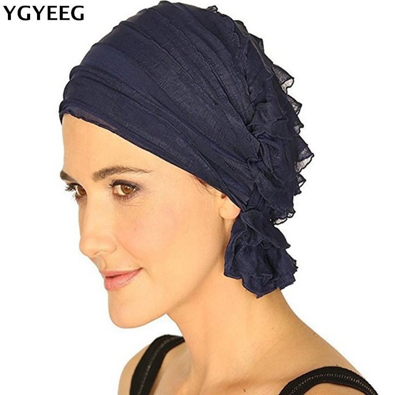 Berretto / cranio Cappucci Ygyeeg 2021 Casual Donne rughe Cappello Berretto Berretto Sciarpa Turban Headwear per Lady Berretti Berretto musulmano Cappuccio di alta qualità