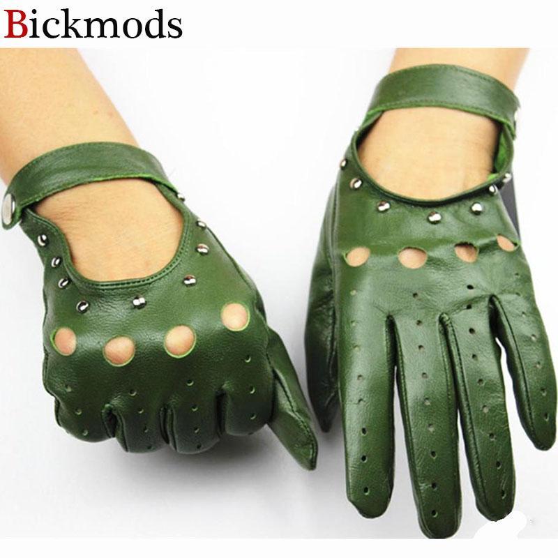 2020 100% Lederhandschuhe der Frauen ungefüttert dünne Art und Weise Hohlnieten Stil Frühling und Sommer treibenden Handschuhe Schaffell