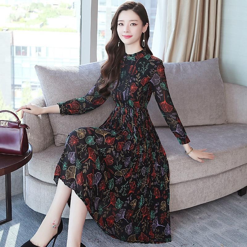 iHqy5 Chiffon Kleid Rock der Frauen 2020 neu Big dressDress plissiert koreanischen Stil Rock dressspring Blumenmittellange großer Schaukel schlank XXfZa