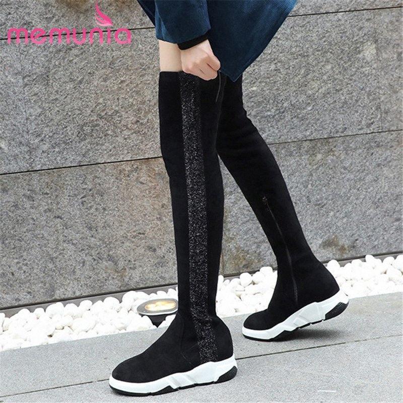 Knee Boots Kadınlar Karışık Renkli Sonbahar Kış Stretch Boots takozları Platformu Ayakkabı Kadın Sporto RXWQ # Üzeri MEMUNIA 2020 En Yeni Süet Deri