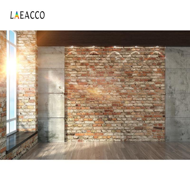 Laeacco Photo Backgrounds Room Brick Wall French Window Wooden Floor Sunshine Baby Interior Photographic Backdrops Photo Studio