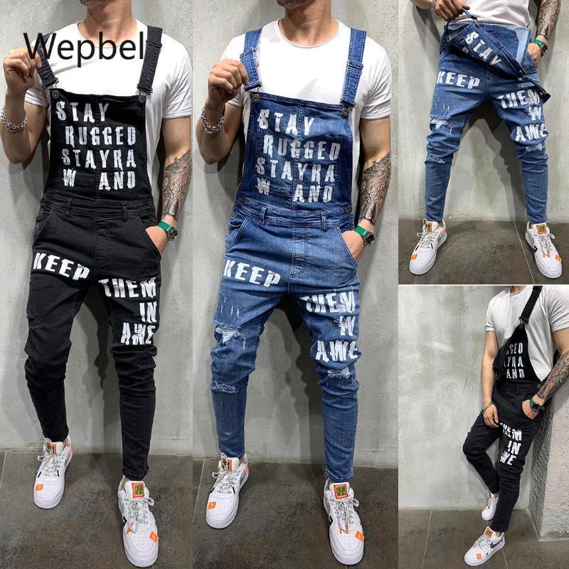 Homens de Moda de WEPBEL Jeans Suspender Denim Jumpsuit Plus Size Tearing Lettered Denim Trousers Popular Macacões