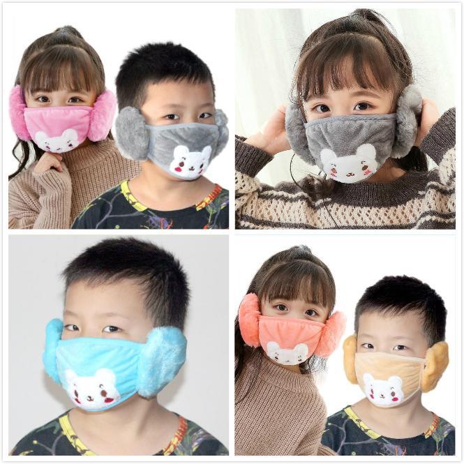 Çocuklar Maskeler 2 1 Çocuk Karikatür Ayı Karşısında Peluş Earmuffs Kalın Kış Ağız-Kül Çocuk Dustpoof Maske Çocuk Ağız Maskeleri Isınma Maske