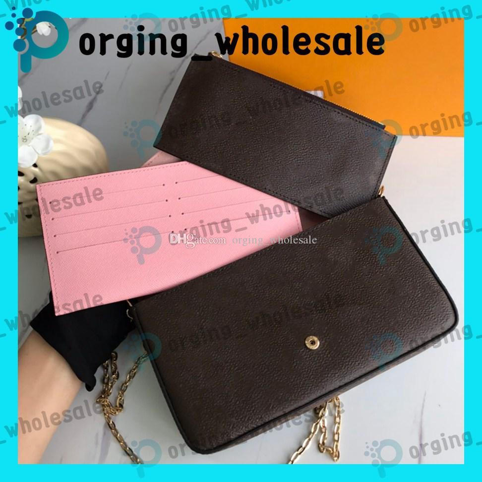 three piece suit purse Brown letter flower Genuine Leather Fashion Chain Shoulder Bags Handbag Mini Wallets Card Holder Fashion Bags LE01