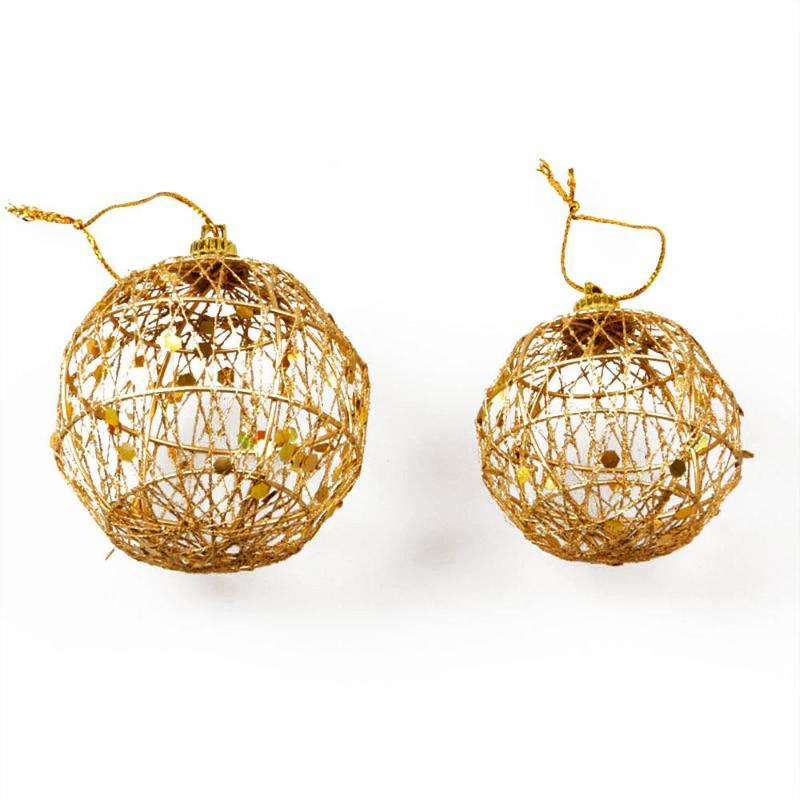6Pcs / Seti Hollow Noel ağacı Dekoratif Topu Altın Parti Süsler Dekor Güzel
