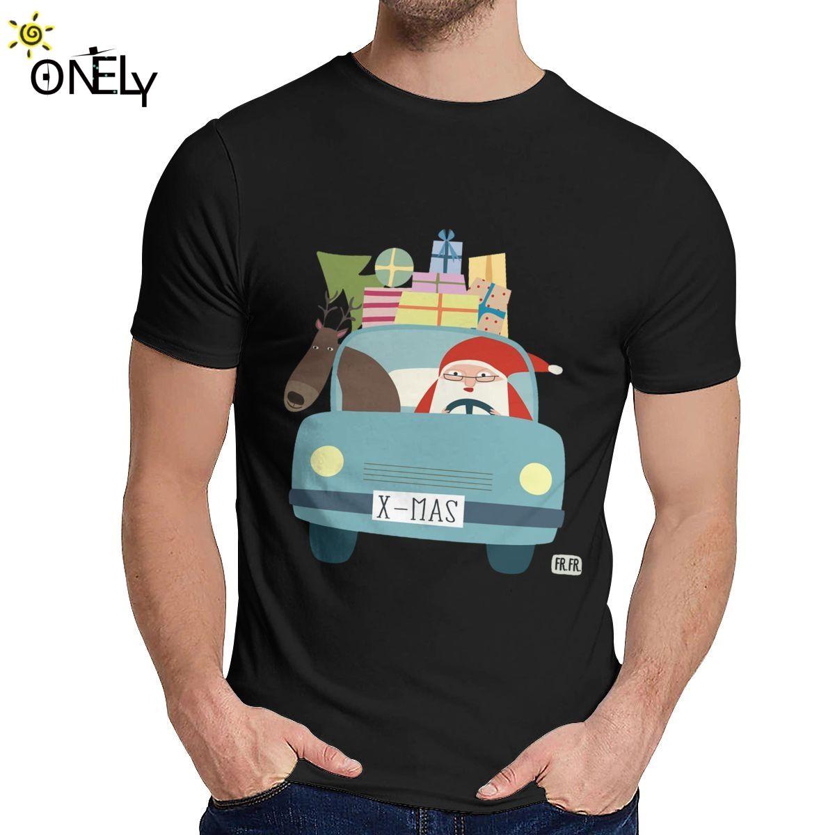 Bom Natal Cotton Santa e rena T Shirt Unisex Estilo louco surpreendente clássico O-pescoço Camiseta