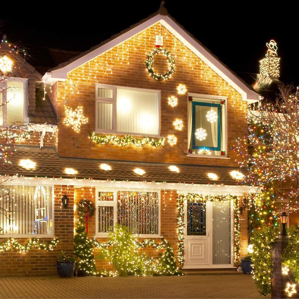 5M Weihnachten Schnur-Licht-Droop 0.4-0.6m Garden Street Outdoor-Deko-Fee-Licht LED-Vorhang Eiszapfen Garland Schnur-Lichter