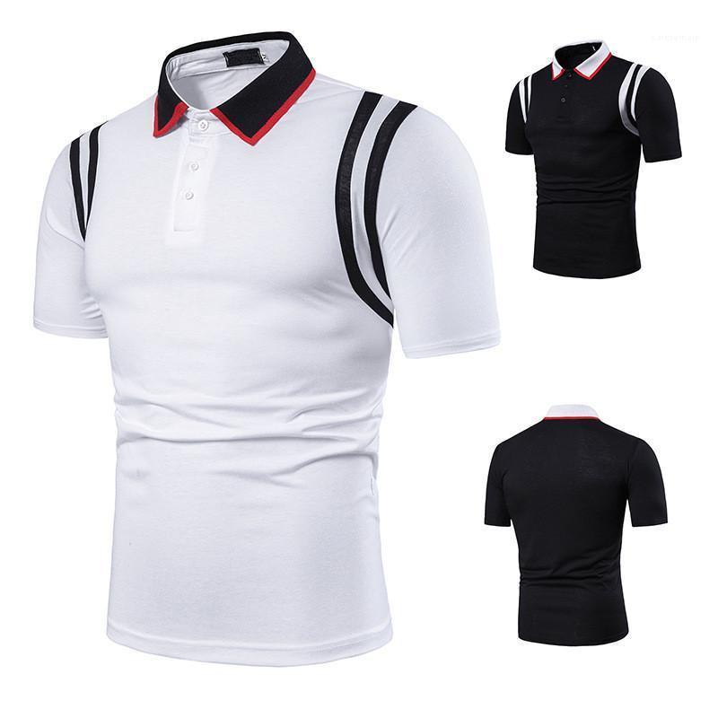 Farbe Revers Ansatz Kurzschluss-Hülsen-lose-Polo-Hemd Lässige Männer Luxusmode Sommer Business-Herren Polo Designer Massiv
