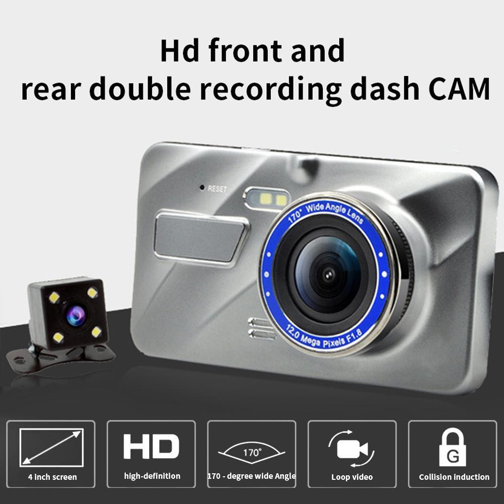 """الجديد الأكثر شعبية DVR سيارة شرطة كاميرا القيادة مسجل الفيديو الكامل HD كاميرات مزدوجة 1080P 170 درجة 4 """"WDR كشف الحركة مراقبة وقوف السيارات"""