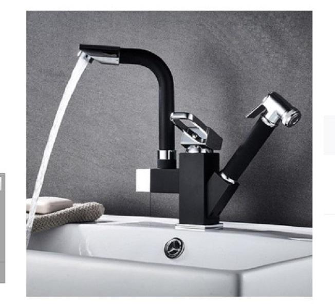 2020 hot sale Kitchen faucet hot and cold draw type wash basin bowl sink sink retractable rotation black kitchen faucet splash proof C002