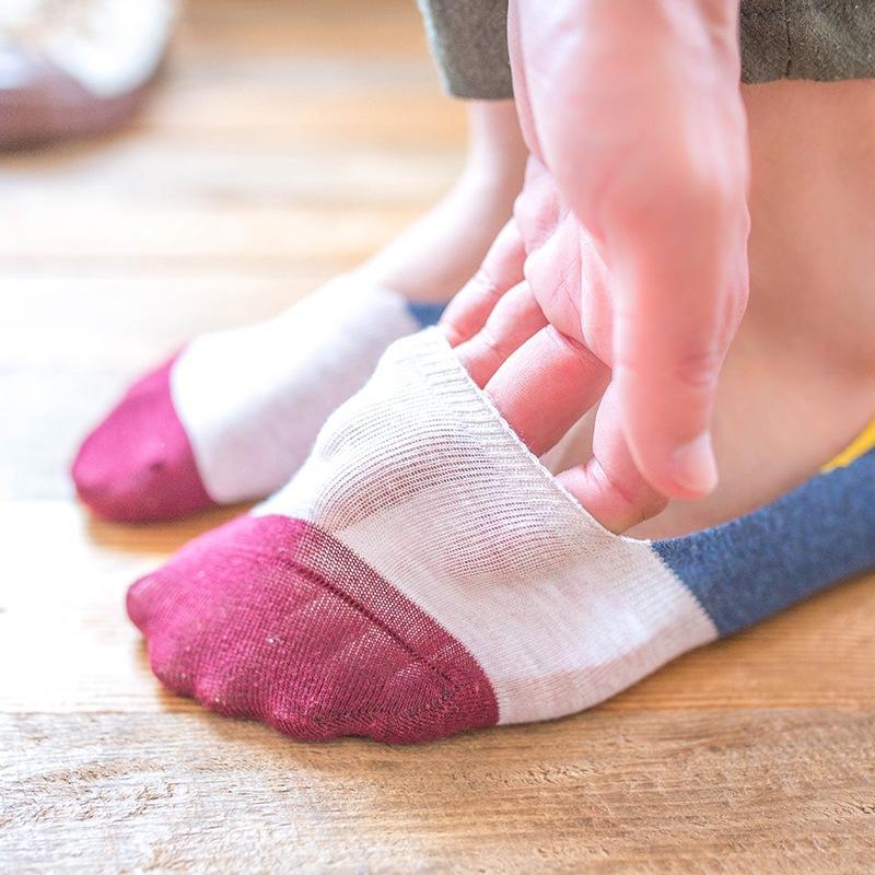 yMYxk cor respirável suor absorvente correspondência socksSilicone invisível de homens invisíveis meias de algodão socksstriped antiderrapante de silicone rasa-m